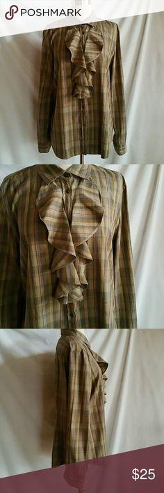 Ralph Lauren Size XL Plaid Button Down Blouse Ruffles.  100% cotton. Ralph Lauren Tops Button Down Shirts