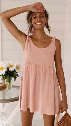 Dusty Pink Etuikleid mit Schulterbindung Dusty Pink shift dress with shoulder binding dress # shoulder tie Sewing Summer Dresses, Short Summer Dresses, Summer Dresses For Women, Summer Fashions, Summer Clothing, Modest Clothing, Summer Sundresses, Summer Mini Dresses, Summer Floral Dress