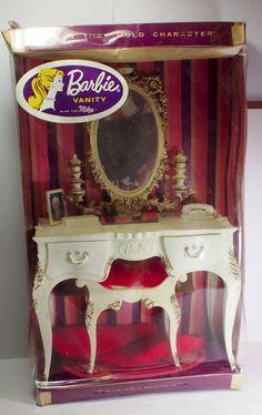 1962 Susy Goose Barbie Doll Vanity Furniture NIB, Phone, Rug, Ken Photo, Mirror #Mattel