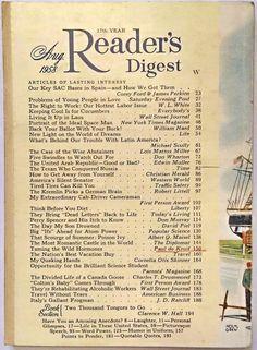 """AUGUST 1958 """"Reader's Digest"""" - SAC BASES - VAN CLIBURN - WINDSOR CASTLE - TIRES"""