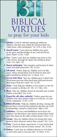 31 Biblical Virtues To Pray for Your Kids Prayer Card, Pack of 50