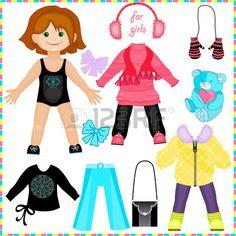Puppe aus Papier mit einer Reihe von Kleidung. Cute Mode Mädchen. Vorlage zum Schneiden.