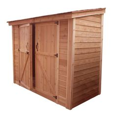 Spacesaver 8 ft. x 4 ft. Western Red Cedar Double Door Storage Shed, Browns/Tans #shedideas