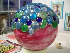 Make a gazing ball from an old bowling ball