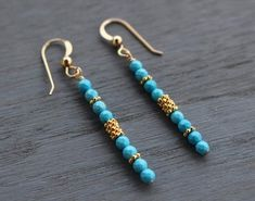 Turquoise Dangle Earrings, Gold and Turquoise Earrings, Boho Chic Turquoise earrings, Dainty Modern Earrings, Beaded Gem Dangle Earrings Wire Jewelry, Jewelry Crafts, Beaded Jewelry, Jewelery, Beaded Bracelets, Bullet Jewelry, Geek Jewelry, Gothic Jewelry, Jewelry Necklaces