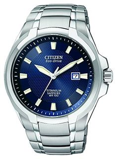 Citizen Eco-Drive Men's Titanium Watch With Blue Dial. This Eco-Drive watch is powered by light, and features a grey titanium case and bracelet with blue dial. Features a style with date and sapphire crystal. Cool Watches, Watches For Men, Men's Watches, Luxury Watches, Silver Watches, Dress Watches, Stylish Watches, Titanium Watches, Citizen Eco