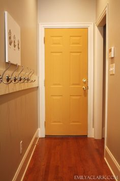 great idea to paint a random hall door a bright funky color. Chalk Paint® decorative paint by Annie Sloan Annie Sloan Chalk Paint Arles, Annie Sloan Paints, Chalk Paint Furniture, Diy Furniture Projects, Home Projects, Craft Projects, Yellow Chalk Paint, White Chalk, Yellow Front Doors