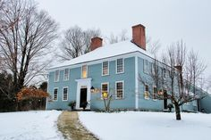 Old New England home in winter