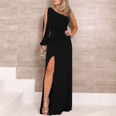 One Shoulder Slit Sleeve High Slit Party Dress – bodyconest long evening dresses,fashion dresses party,night gown dress,dress beautiful Elegant Dresses, Sexy Dresses, Evening Dresses, Casual Dresses, Fashion Dresses, Dresses For Work, Prom Dresses, Formal Dresses, Summer Dresses