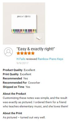 """Easy & exactly right!"" Rainbow Piano Keys Post-It notes designed by @PurpleCatArts  #HappyCustomer #CustomerExperience Please Note: You can view this review (this is a screen shot) on the  Post-It notes product page under all customer reviews :)"
