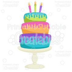 Birthday Cake SVG Cut File & Clipart - SVG scrapbook cut files for Silhouette, Cricut cutting machine. Birthday Cake cut file, birthday cake clipart