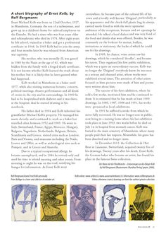 RAWVISION introduces Ernst Kolb, actually page 6. The space of 6 pages is rather limited whereas the imagination of the artist is almost unlimited. This becomes obvious when visiting the digital Gallery www.aussenseiterk..., where much more of his strange drawings can be discovered and the Article can be downloaded in english and german language.