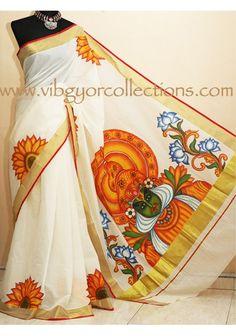 KATHAKALI MUKHAM - Hand painted Kerala Saree