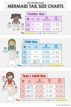 Mermaid tail size charts kids, teens, and adults