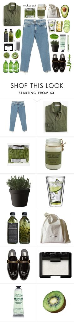 """""""GreenDays"""" by yvetteong ❤ liked on Polyvore featuring Acne Studios, Industry Of All Nations, Muuto, Bodum, CÉLINE, STELLA McCARTNEY, NARS Cosmetics, Paul Frank, L'Occitane and FRUIT"""