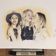 Emily Bett Rickards Felicity Smoak Willa Holland Thea Queen - Speedy Katie Cassidy Laurel Lance - Black Canary Arrow, the Arrow Artwork, drawing, fanart, comics DC comics