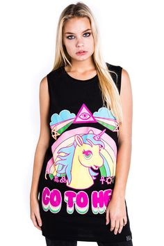 GO TO HELL. Bad Kawaii Motherf****r. Black goth tshirt with bold kawaii print -perfect for pastel goths. Unicorn Fashion, Gothic Tops, Black Goth, Pastel Grunge, Crop Tops, Shirts, Clothes, Plushies, Fashion Styles