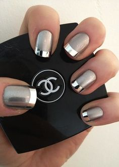 41 ideas in pictures for your decorated nails! How to choose the decoration? idee deco ongle, un joli modele ongle gel de couleur gris - Nail Designs French Manicure Nails, Manicure Y Pedicure, French Nails, Manicures, Manicure Ideas, Mani Pedi, French Manicure With A Twist, Coloured French Manicure, Black French Manicure