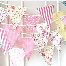 Banderas de colores Bunting decoraciones fiesta de cumpleaños de los niños hechos a mano decoración apoyo de la foto crema tela Garland Baby Shower Banner(China (Mainland))