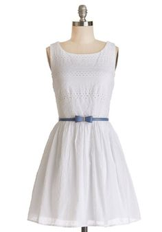 Springs True Dress. Welcome the warmer weather in this white cotton dress, and its only natural that you feel as radiant as the sunbeams that warm your shoulders. #white #modcloth