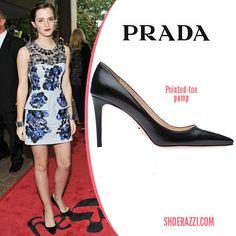 Emma Watson in Prada Black Suede Pumps