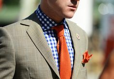 Gingham and a knit tie on a summer day.