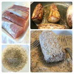 Filetto di maiale agli aromi. Una ricetta veloce e semplice ma piacevolmente diversa dal solito. Avvolti in una sottile panatura aromatizzata e profumata.