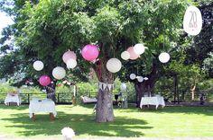 Jadín decorado para boda