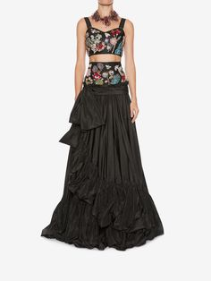 ALEXANDER MCQUEEN Jeweled Embroidered Bra Top & Skirt set