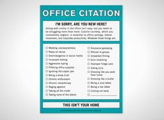Office Citation. Passive aggressive at it's finest!  Brought to you  by Shoplet Promos- Everything for your business. www.shopletpromos.com