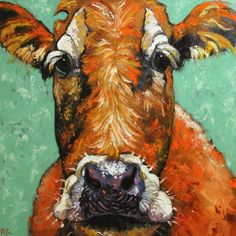 Cow Paintings On Canvas | Cow painting 428 30x30 inch original oil painting by Roz by RozArt