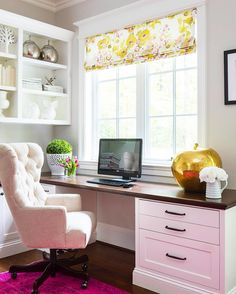 LOVE That Office Chair Chic Home Office Features A Built In Desk Adorned  With Bronze Pulls Accented With A Beveled Wood Paired With A Cream Tufted  Rolling ...