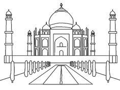 Sketch of Taj Mahal in India Worldwonders Coloring Pages
