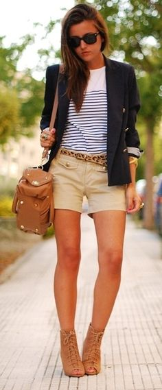 nautical stripes + blazer. those shoes are on shoemint or solesociety