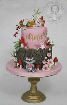 New Birthday Cake Kids Fondant Baby Shower Ideas Gateau Baby Shower, Baby Shower Cookies, Birthday Cake Girls, First Birthday Cakes, Woodland Theme Cake, Woodland Party, Rodjendanske Torte, Cupcakes Decorados, Cool Baby
