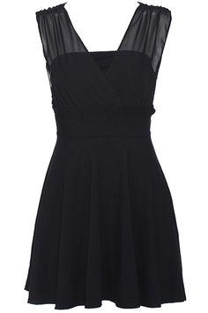 ROMWE   ROMWE Dual-tone Lace-up Black Sleeveless Dress, The Latest Street Fashion