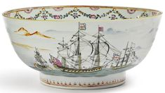 A Chinese export porcelain shipping-subject punch bowl<br>circa 1775 | lot | Sotheby's