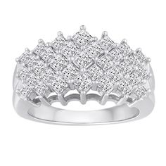Shop for 10k White Gold 2ct TDW Diamond 5-row Ring. Get free delivery at Overstock.com - Your Online Jewelry Destination! Get 5% in rewards with Club O!