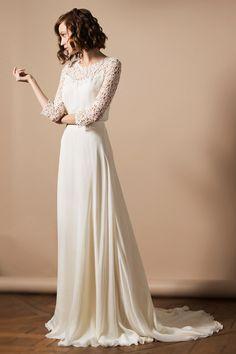 Modisches 3/4 Ärmeln Rund-Ausschnitt Ivory Brautkleider aus Chiffon Persunshop
