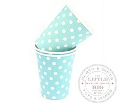 Light blue polka dot paper cups | Paper Cups | Party Collection | The Little Big Company Pty Ltdparty, glass bottles, swizzle sticks, beverage dispenser, birthday, gift, rock candy
