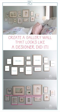 Do you wonder how designers create large gallery walls? Here are the proven tech… Do you wonder how designers create large gallery walls? Here are the proven techniques that will make your gallery wall look amazing. Inspiration Wand, Decoration Inspiration, Decor Ideas, Gallery Wall Layout, Gallery Gallery, Travel Gallery Wall, Photo Wall Layout, Photo Wall Decor, Entryway Wall Decor