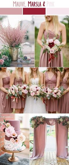 mauve, marsala and pink late summer wedding color ideas