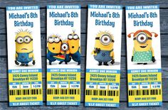 Minions Birthday Party Ticket Invitation - Minions Invitation, Minions Birthday, Minions Party, Minions Printable Personalized ,