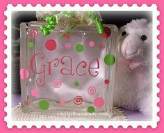Glass Block Name with Polka Dots and Swirls