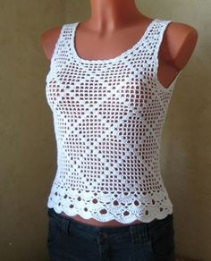 Crochet Blouse crochet bluse Plus Blouse Au Crochet, Crochet Tank Tops, Crochet Summer Tops, Black Crochet Dress, Crochet Shirt, Filet Crochet, T-shirt Au Crochet, Pull Crochet, Crochet Woman