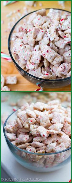 Super simple 10 minute peppermint crunch puppy chow-- this sweet candy cane snack mix is loved by all!