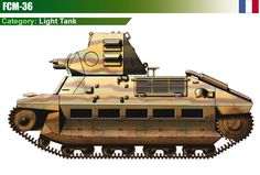 French FCM 36 light tank, Char léger (introduction - 1938; armour - 40 mm; gun - 37 mm L/21 gun; speed - 24 km/h; produced - 100)