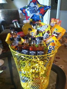 Basket of Sunshine. Perfect for that guy that's hard to buy for. Jack and Coke, cheese queso dip, crackers, candy, gift cards.