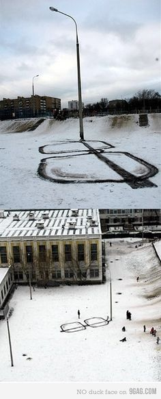snow drawing: street light/snow glasses. // Pavel 183 - i love the way this artist thinks.