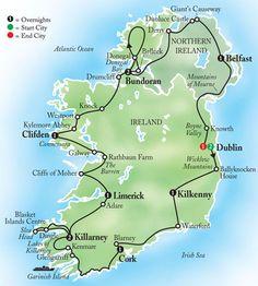 Scenic Ireland Map - Kirkman This is exactly 10 days! Limerick Ireland, Ireland Map, Ireland Travel, Ireland Castles, Backpacking Ireland, England Ireland, Voyage Europe, Ireland Vacation, Scotland Travel